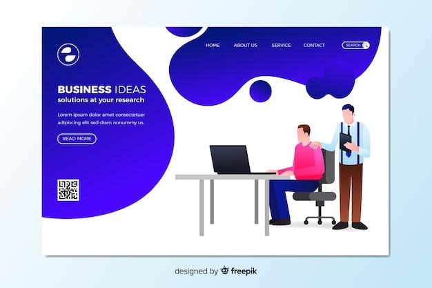 Modèle de page de destination d'idées commerciales