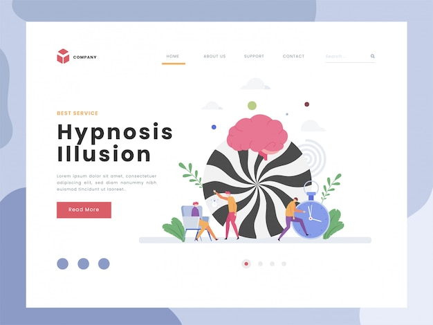 Modèle de page de destination d'illusion d'hypnose