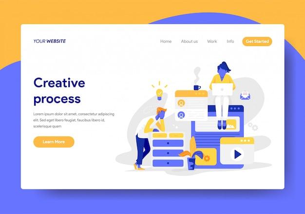 Modèle de page de destination de l'illustration du processus créatif