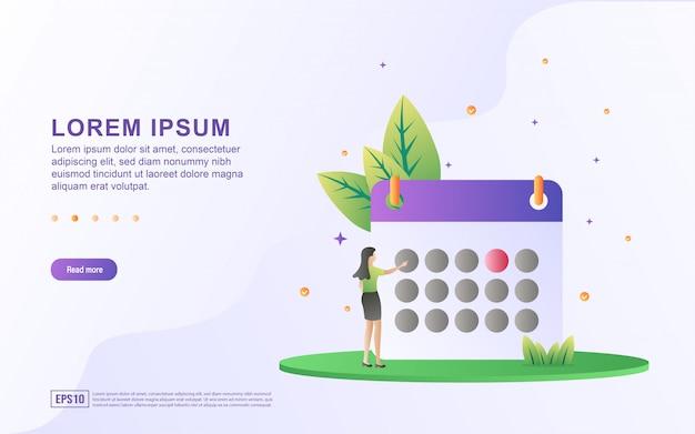 Modèle de page de destination avec illustration d'une femme d'affaires organisant un calendrier d'activités