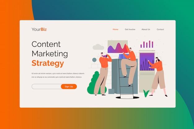 Modèle de page de destination d'illustration de stratégie de marketing de contenu