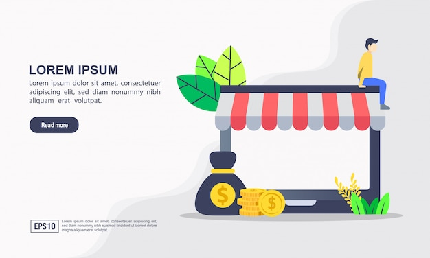 Modèle de page de destination. illustration vectorielle de concept de commerce électronique et de commerce en ligne avec «commerce électronique» et vente en ligne