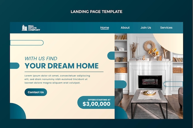 Modèle de page de destination de l'immobilier dégradé