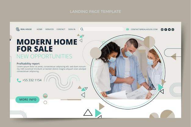 Modèle de page de destination immobilier design plat