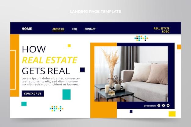 Modèle de page de destination immobilier géométrique abstrait plat