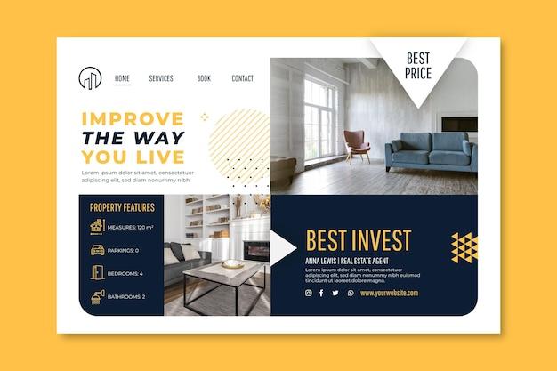 Modèle de page de destination de l'immobilier