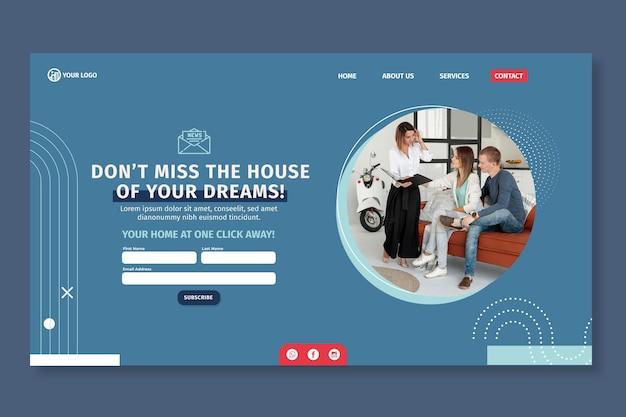 Modèle De Page De Destination Immobilière Vecteur gratuit