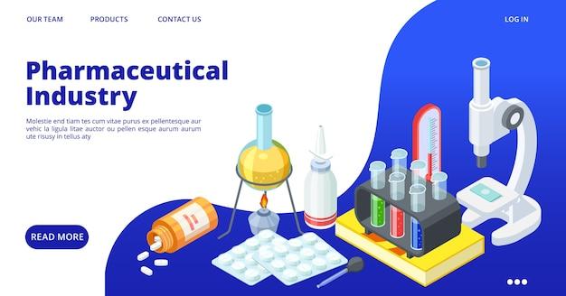 Modèle de page de destination de l'industrie pharmaceutique