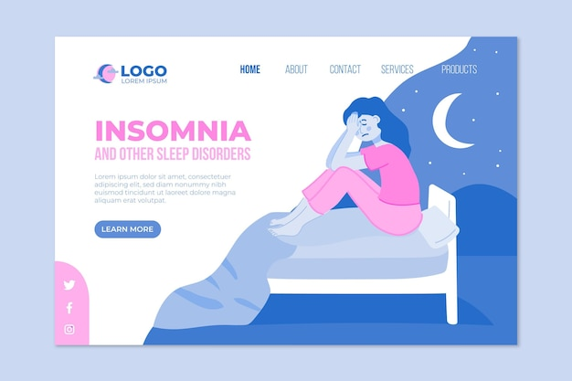 Modèle de page de destination de l'insomnie