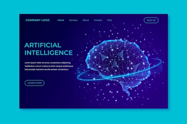 Modèle de page de destination d'intelligence artificielle