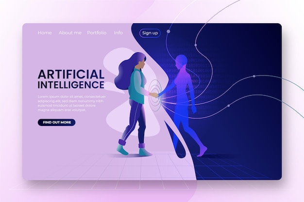 Modèle de page de destination de l'intelligence artificielle