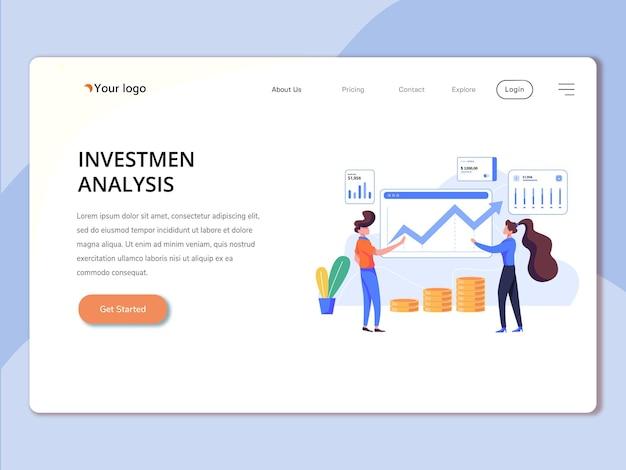 Modèle de page de destination avec invest