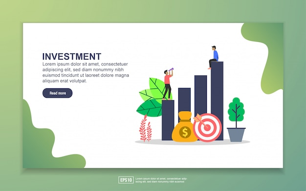 Modèle de page de destination de l'investissement
