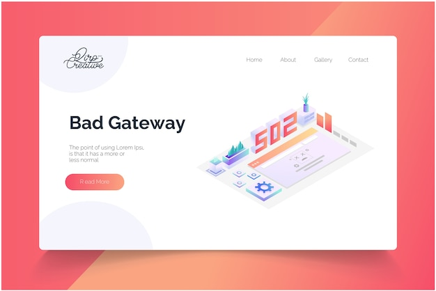 Modèle de page de destination isométrique bad gateway concept