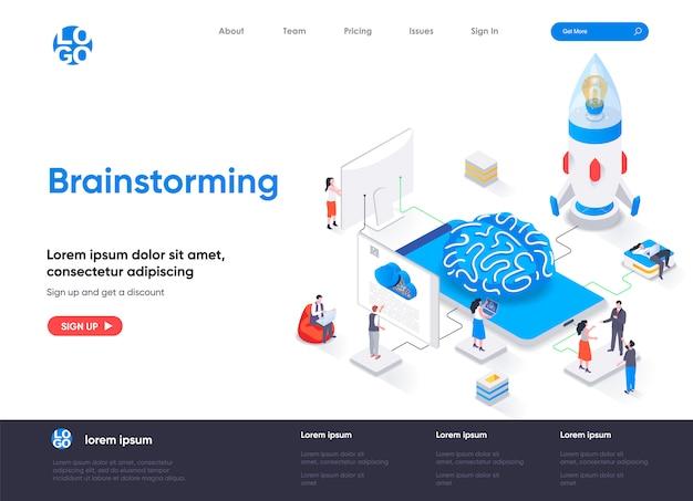 Modèle de page de destination isométrique de brainstorming