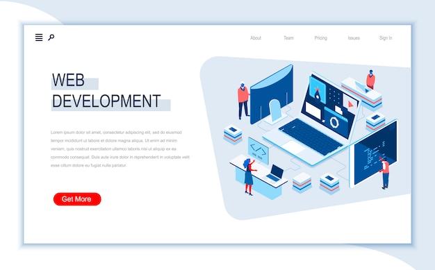 Modèle de page de destination isométrique de développement web.