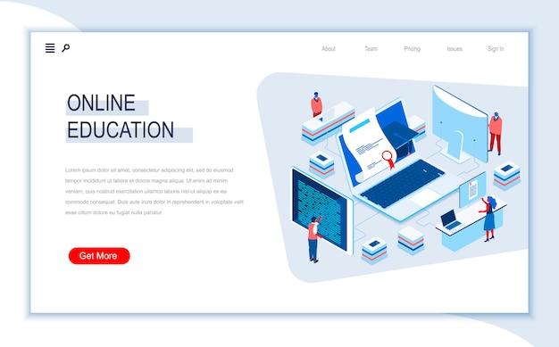 Modèle de page de destination isométrique de l'éducation en ligne.