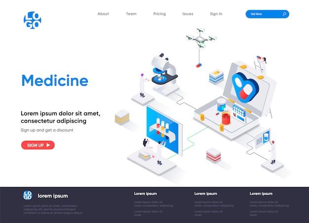 Modèle de page de destination isométrique de médecine