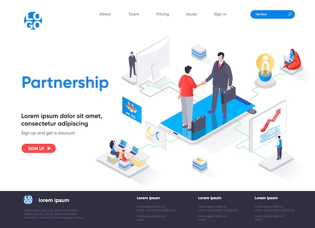 Modèle de page de destination isométrique de partenariat