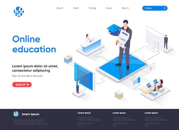 Modèle de page de destination isométrique pour l'éducation en ligne