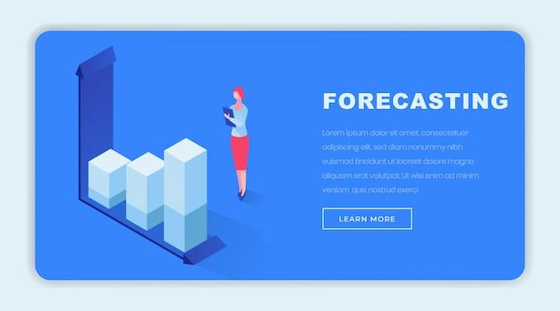 Modèle de page de destination isométrique pour les prévisions commerciales