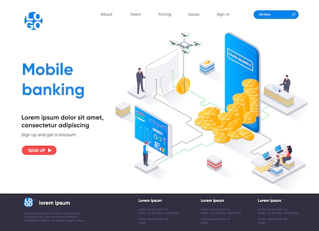 Modèle de page de destination isométrique pour les services bancaires mobiles