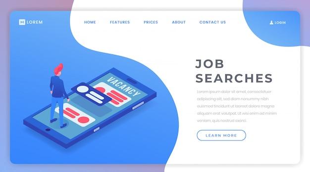 Modèle de page de destination isométrique de recherche d'emploi