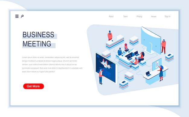 Modèle de page de destination isométrique de réunion d'affaires.