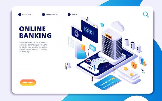 Modèle de page de destination isométrique des services bancaires en ligne