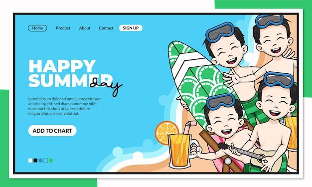 Modèle de page de destination de jour d'été heureux avec personnage de dessin animé mignon
