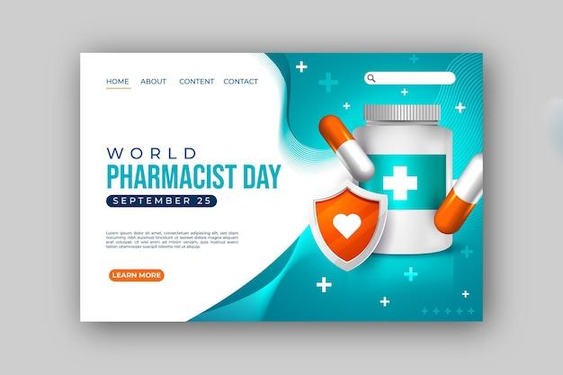 Modèle de page de destination de jour de pharmacien réaliste