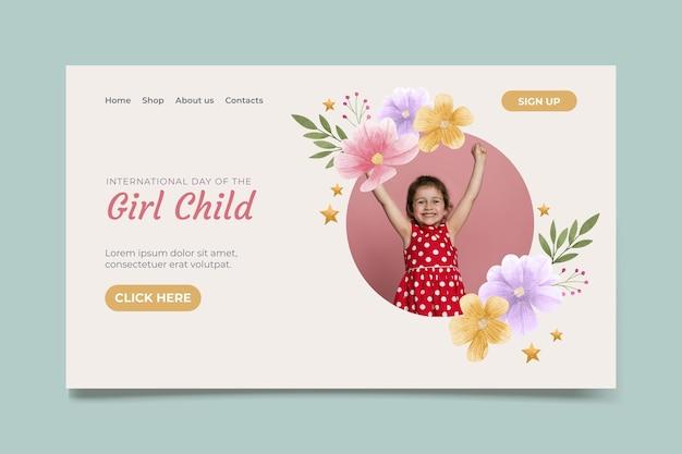 Modèle de page de destination de la journée internationale de l'aquarelle de la petite fille