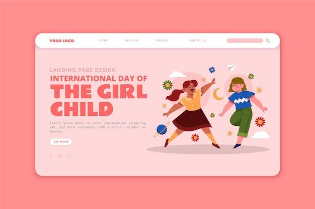 Modèle de page de destination de la journée internationale plate dessinée à la main de la petite fille