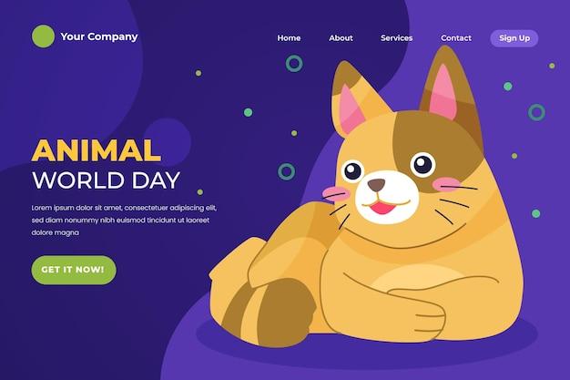 Modèle de page de destination de la journée mondiale des animaux dessinés à la main
