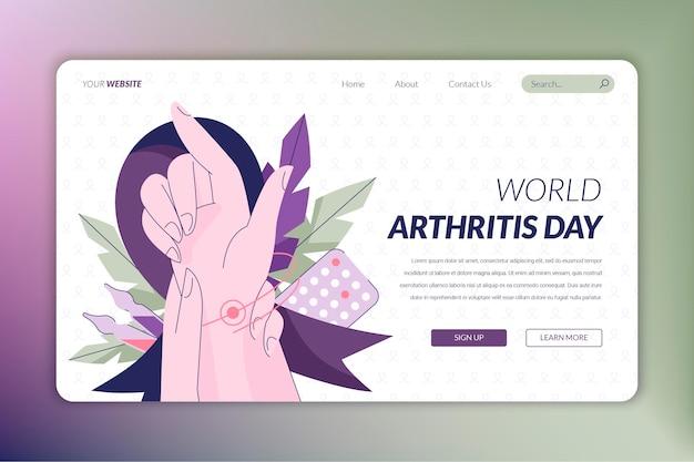 Modèle de page de destination de la journée mondiale de l'arthrite dessinée à la main