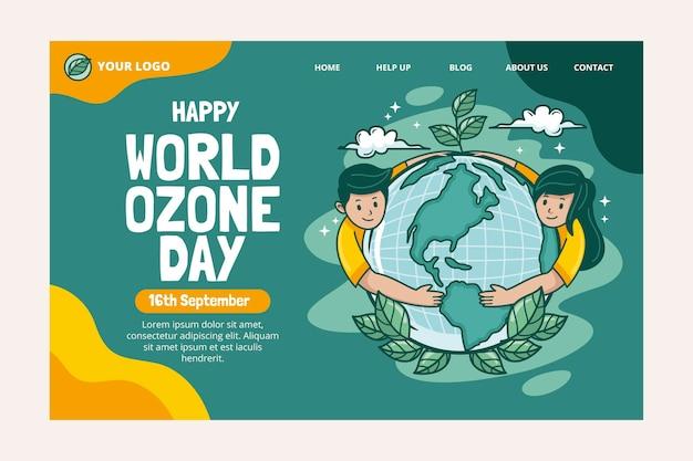 Modèle de page de destination de la journée mondiale de l'ozone dessiné à la main