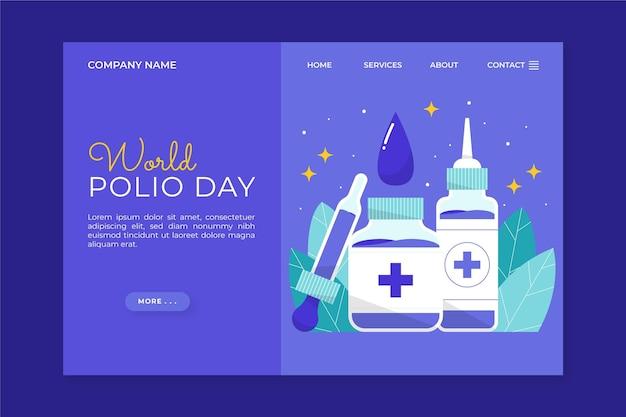 Modèle de page de destination de la journée mondiale de la polio dessinée à la main