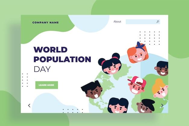 Modèle de page de destination de la journée mondiale de la population plate