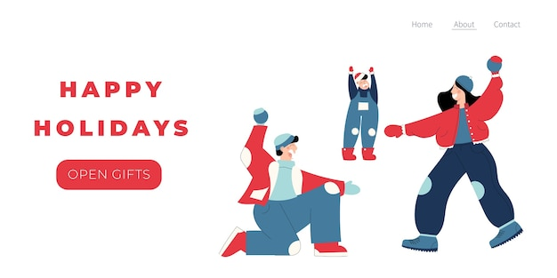 Modèle de page de destination joyeuses fêtes avec le personnage de personnes dessinées à la main de la famille jouant aux boules de neige
