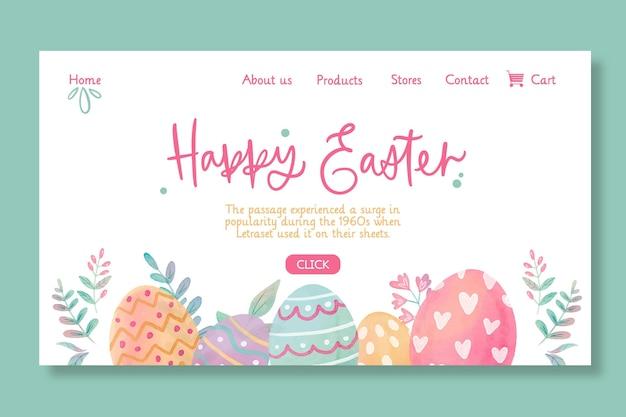 Modèle de page de destination joyeuses pâques