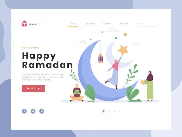 Modèle de page de destination, joyeux ramadan moubarak, personnes minuscules plates lisant le livre sacré. le bonheur symbolique chez les femmes attrape l'étoile. croissant de lune et lanterne. style plat.