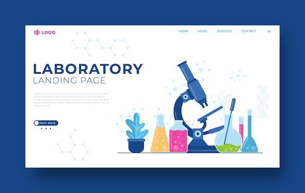 Modèle de page de destination de laboratoire illustrasi