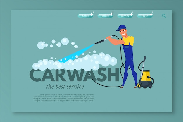 Modèle de page de destination de lavage de voiture