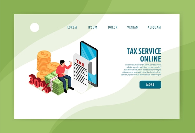 Modèle de page de destination en ligne du service fiscal