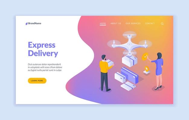 Modèle de page de destination de livraison express