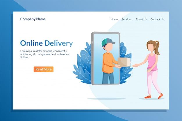 Modèle de page de destination de livraison en ligne avec package de livraison de messagerie