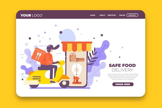 Modèle de page de destination de livraison de nourriture sûre