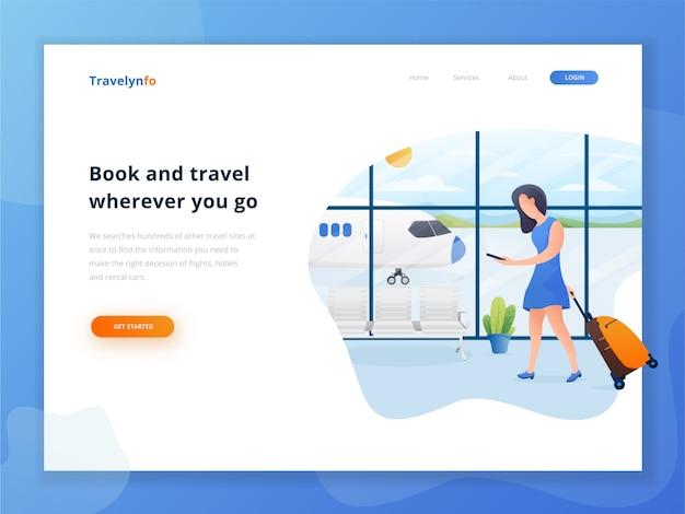 Modèle de page de destination de livre et voyage