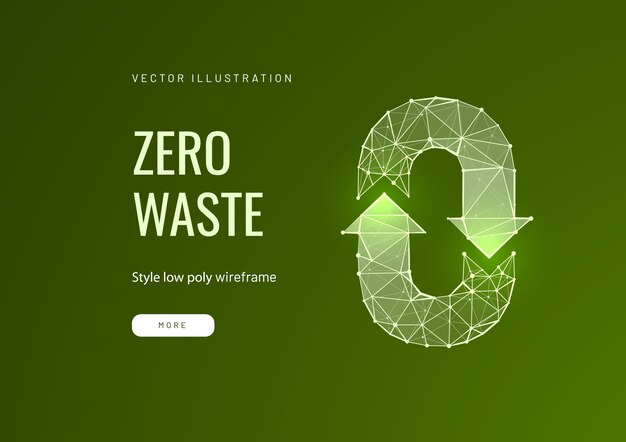 Modèle de page de destination low poly de recyclage des déchets