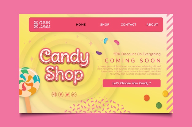 Modèle de page de destination de magasin de bonbons